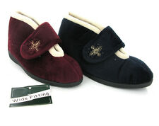 New Womes Extra Wide Velcro Fasten Warm Lined Booties Ankle Slippers Size 3-8