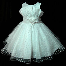 Girl Whites Christmas Party Flower Girls Pageant Dresses AGE 2-3-4-5-6-7-8-9-10Y