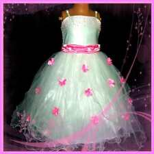 P408 Pinks White Wedding Party Pageant Flowers Girls Dress SIZE 2-3-4-5-6-7-8-9Y
