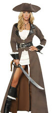 Sexy Womens Deluxe Brown Pirate Dress Halloween Costume