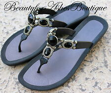 GRANDCO VICTORIAN ANTIQUE FACETED JET BLACK JEWELRY THONG RESORT BEACH SANDALS