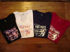 NEW Authentic TOMMY HILFIGER Womens SS Top  Shirt Tee V- Neck Cotton Graphic