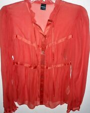Womens French Connection Long Sleeve Silk Blouse (Pink) Size 2, Size 8, NWT