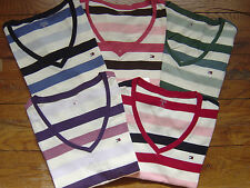 NEW Authentic TOMMY HILFIGER Womens SS Top Shirt Tee V-Neck Cotton Stripes