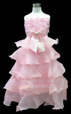 Pink Rosette Pageant Wedding Flower Girl Party Dress Long Gown Sz 3-12 Age 2-13