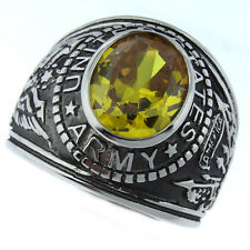 Mens Yellow Topaz CZ US Army Military Stainless Steel Ring