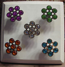 Hexagon Crystal Sparkling Cabinet Furniture Drawer pulls Knobs Colored chrome