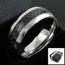 Ti Titanium Men's Black Carbon Fiber Stripe Comfort Fit Band Ring Size 8-15