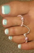 pearl duo attached chain double toe rings  pastel colors So sexy and pretty O/S