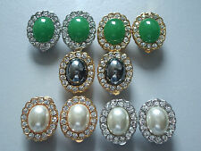 Emerald Jade/Water Pearl with Swar Crystal Earrings Clip On Large 22K GP