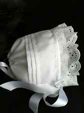 Lace & Tucks Solid White Baby Bonnet/Hat Easter Christening Baptism nb to 12 mo.