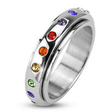 316L Stainless Steel Polished Spinner Band Ring with Rainbow CZ's Size 5-13