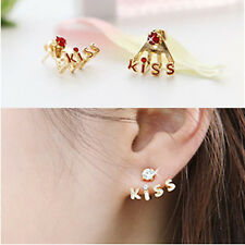 Korean Style New Fashion KISS Letters Rhinestone Cute Stud Earrings 4 Color