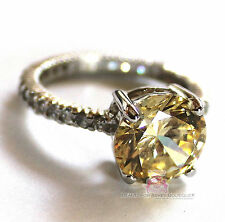 BEAUTY FOR ASHES STERLING SILVER ROYAL ENGAGEMENT PALE CANARY CLEAR CZ RING NWT