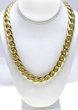 18 KT Gold Overlay 13 mm Cuban (Curb) Link Chain Necklace - Lifetime Warranty