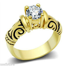 1.45ct CZ Stone Classic Style Gold EP Ladies Fashion Ring
