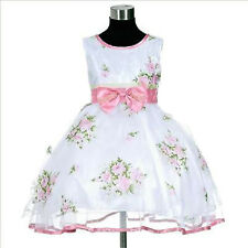 P573 Kid Pink Fancy Christmas Party Flower Girls Dress Outfit SZ 2-3-4-5-6-7-8-9