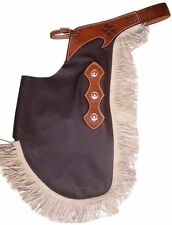BROWN SMOOTH LEATHER WESTERN HORSE SADDLE CHINKS CHAPS FOR WORK OR RODEO