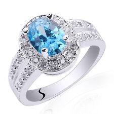 6x8 Oval Simulated Gems 925 Sterling Silver Ring for Ladies Size 6 7 8 9