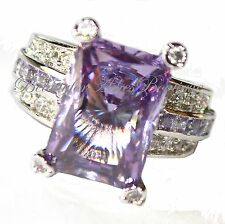 Beauty for Ashes Light Amethyst CZ Cocktail Dressy Princess Wedding Glitzy Ring