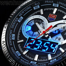 Waterproof TVG Blue LED Quartz Watch Silver Band  Diving Mens Sports Gift Box