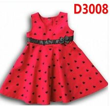 Girls Kids Princess Red dots vest Wedding Bridemaid Cotton Tea dress skirt 5-6yr