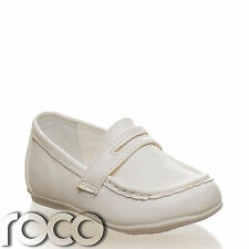 Baby Boys Cream Smart Slip on comfort Christening Wedding Formal Pageboy Shoes