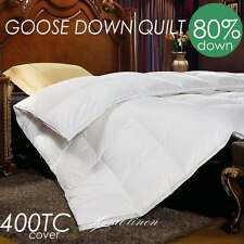 80% WHITE GOOSE DOWN 400TC COVER QUILT/DOONA/DUVET King/Queen/Double/Single Bed