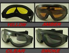 MOTORCYCLE GOGGLES FIT OVER PRESCRIPTION GLASSES CHOICE LENSE COLOR 1 PAIR