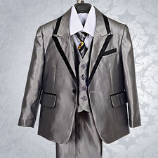 5pc Set Formal Suits Tux Outfits Wedding Dinner Boys Kid Size 2T-7 ST021A