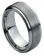 9mm Tungsten Carbide Men Women Wedding Band Ring Brushed Center Stepped Edge New