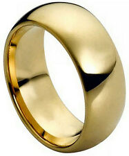 9mm Tungsten Carbide Men Women Wedding Band Ring Domed Gold-Plated Shiny Polish