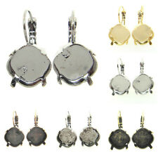 Empty Cup Chain Earrings Hand Set Stones 12mm Square 3 Pairs - Choose Finish