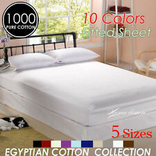 Single/KS/Double/Queen/King Size 1000TC Soft Egyptian Cotton Fitted Sheet