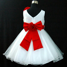 AU R668 Red Wedding Party Flower Girls Pageant Dress Size 1,2,3,4,5,6,7,8,10,12Y