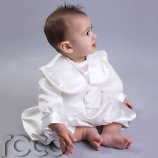 Baby Boys Ivory Romper Christening Suit Jacket Hat Age 0-3 to 12-18 Months