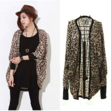 New Women's Batwing Dolman Bolero Cape Leopard Long Coat Blazer Jacket Outerwear