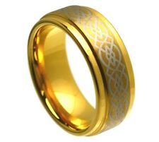8mm Tungsten Ring Men Women Wedding Band Gold Plated Laser Engraved Celtic Knot