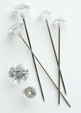 DIAMANTE PINS CLEAR ACRYLIC, DIAMOND SHAPED HEAD, CHOOSE SIZE & AMOUNT.