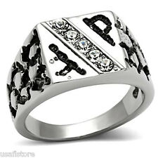 Mens Five Bling Crystal Nuggets Silver Stainless Steel Ring
