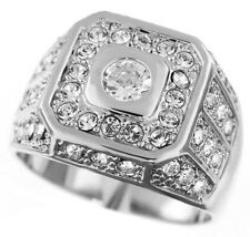 Mens Prince Simulated Diamond White Gold Plated Ring