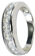 Channel Set Band Cubic Zirconia Ring Silver High Quality Polish Rhodium Plated