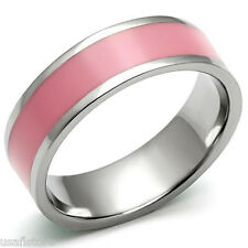 Rose Epoxy Pink Silver Stainless Steel Ladies Ring New
