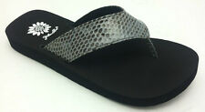 "Yellow Box Women's NEW ""Tuesday"" BLACK Faux Reptile Sandals Flip Flops SIZES"