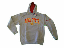 IOWA STATE CYCLONES ADULT GREY/RED EMBROIDERED CONTRAST HOODED SWEATSHIRT NWT*