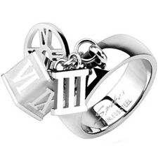 Stainless Steel Roman Numeral Charms Decorated Band Ring Size 5-8