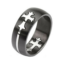 316L Stainless Steel Men's Two Tone Cut Out Celtic Cross Band Ring Size 9-14
