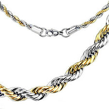"""Stainless Steel 2-Tone 22"""" Rope Chain Necklace 3mm, 4mm or 5mm"""
