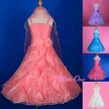 Organza Wedding Flower Girl Dresses + Shawl Pageant Party Size 2T-13 FG232S