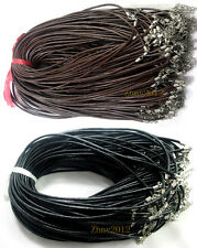 Wholesale 20/50/100pcs Black/Brown Real Leather Round Cord Necklace 45cm.#L45
